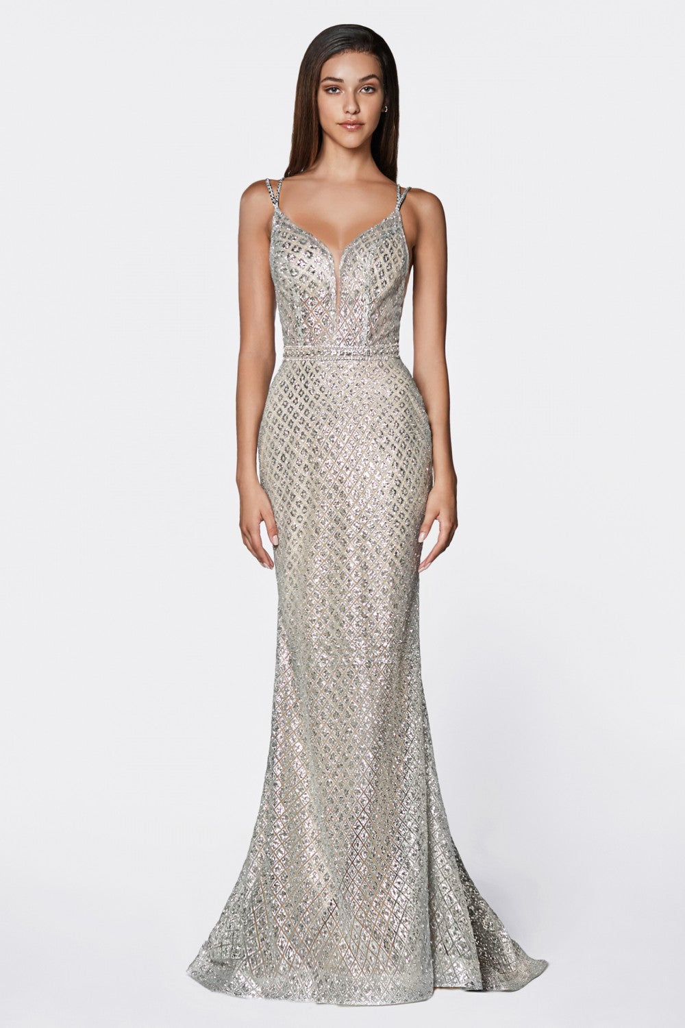 Fitted Glitter Gown With Deep Plunging Neckline And Open Back