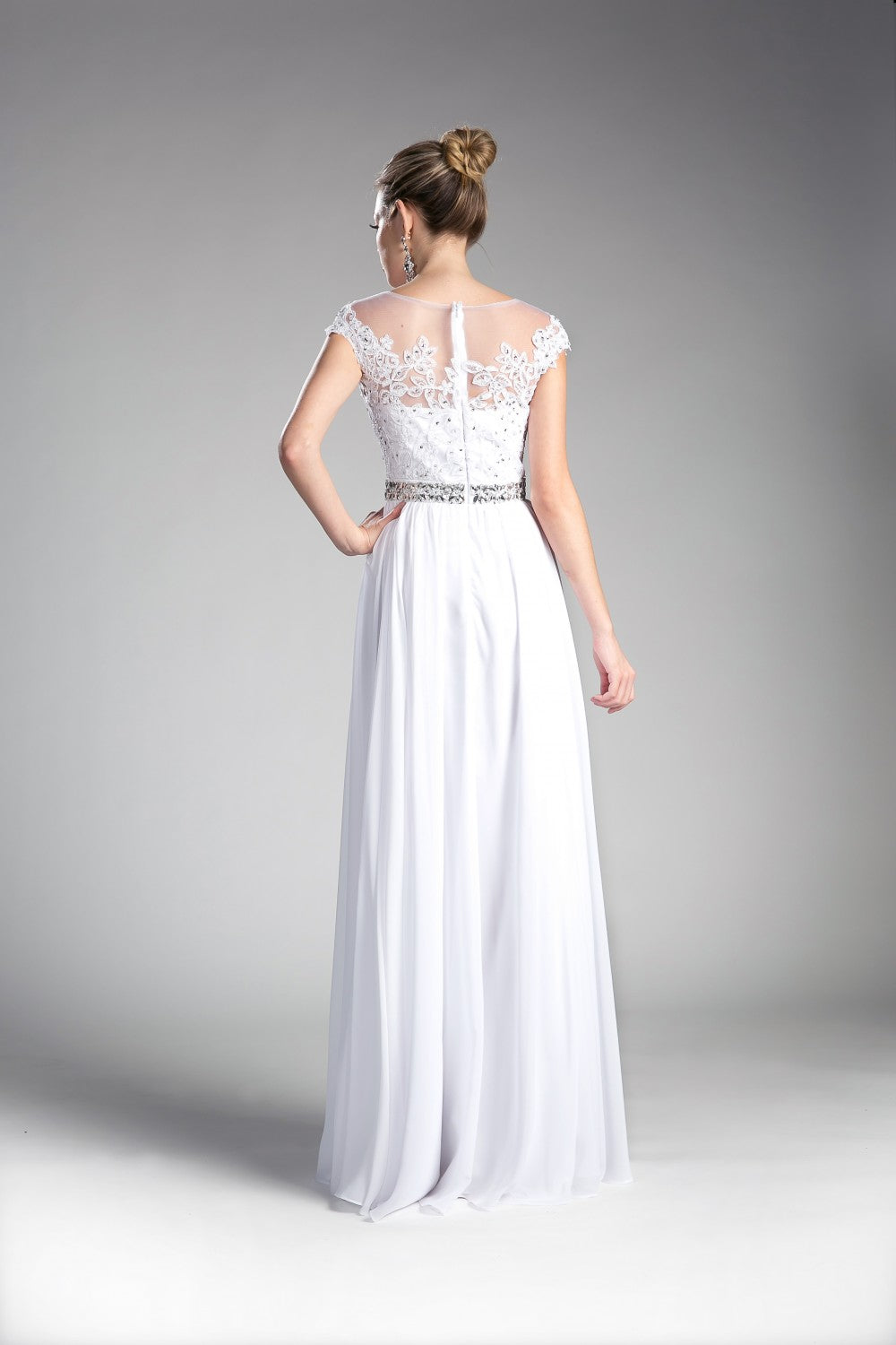 A-Line Chiffon Gown With Beaded Lace Top And Closed Back