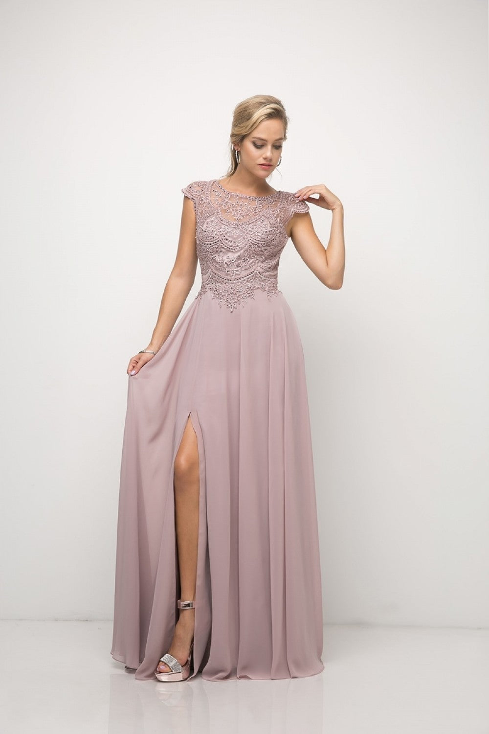 Beaded Lace Bodice Chiffon Dress