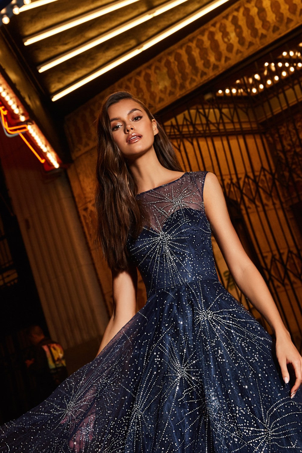 Glitter Tulle Ball Gown With High Illusion Neckline And Closed Back