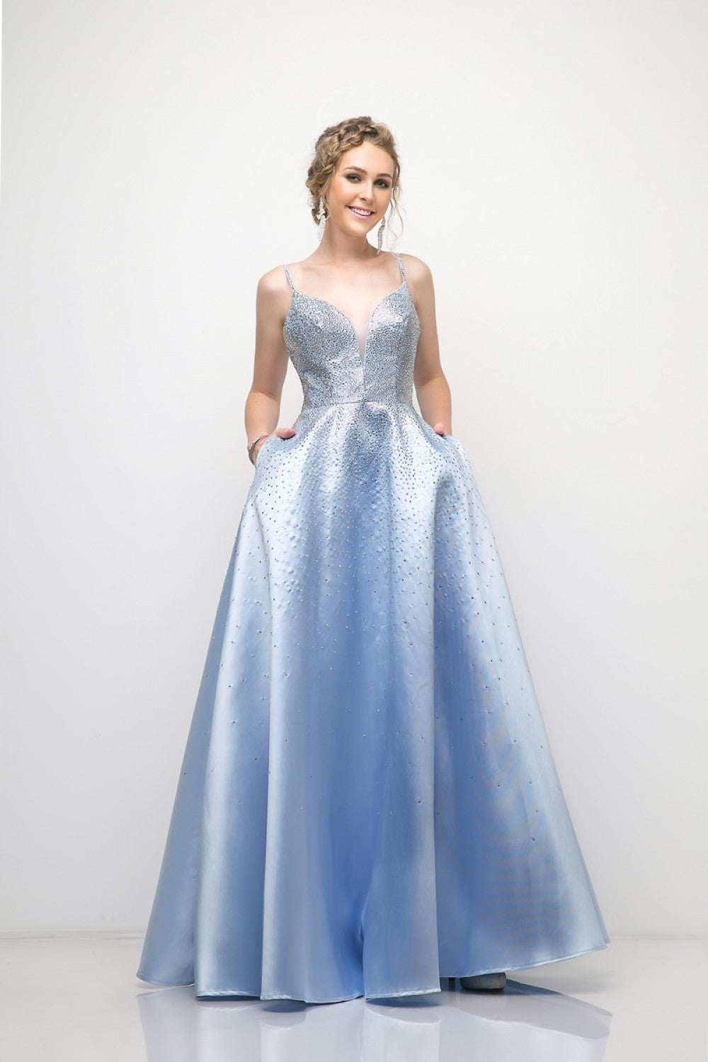 A-Line Satin Ball Gown With Stone Embellishment And Pockets