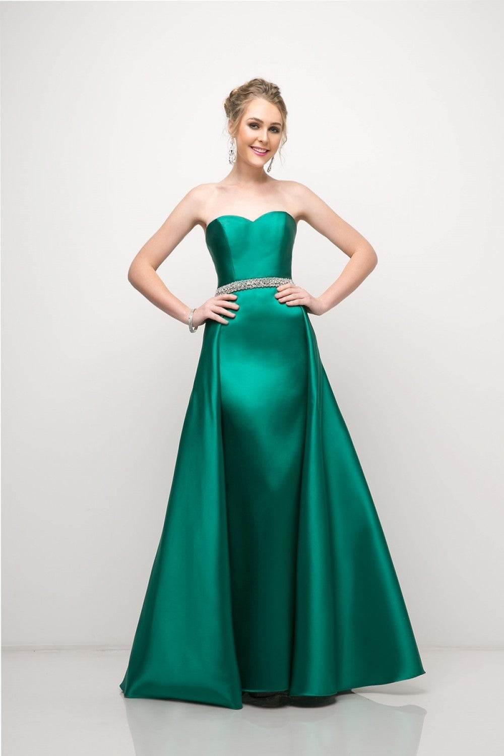 Strapless Mikado Gown With Sheath Underskirt And Ballgown Overskirt, Complete With Beaded Belt