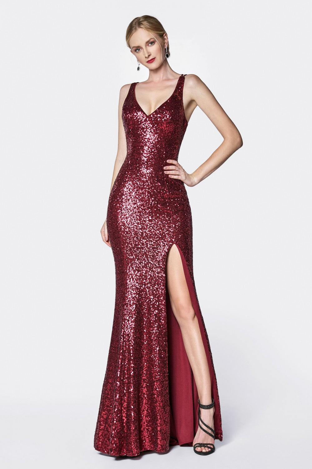 Fitted V-Neck Sequin Gown With Leg Slit, Criss Cross Back And Detachable Cape