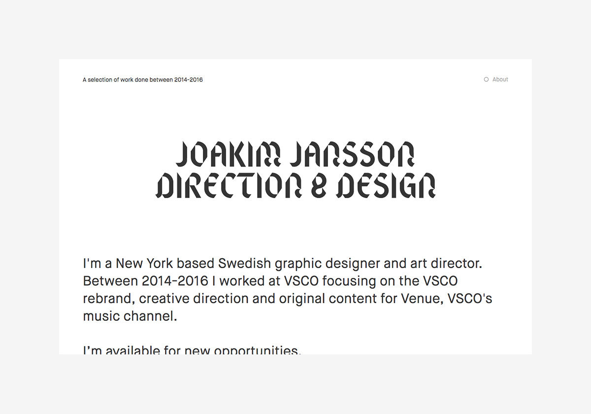 Joakim Jansson: A selection of work 2014-2016