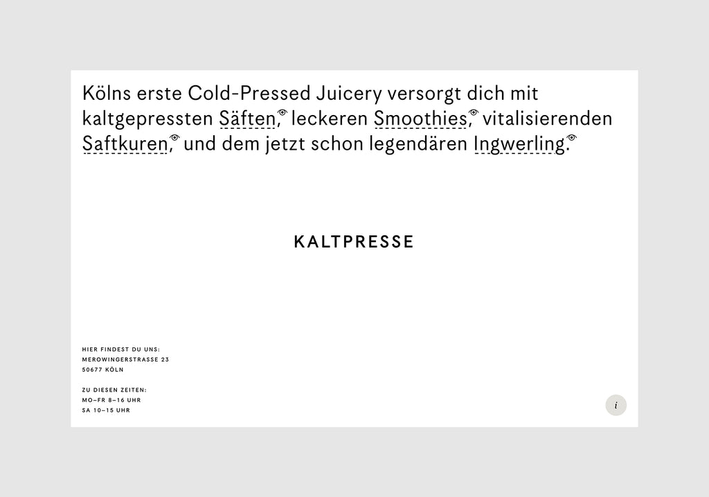 Humans & Machines: Kaltpresse