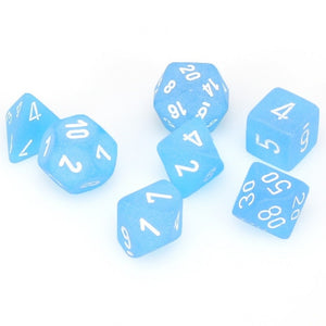 Dice- Chessex Frosted Polyhedral Caribbean Blue/White (7 Dice in Display)