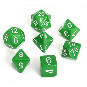 Dice- Chessex Opaque Polyhedral Green/White (7 Dice in Display)