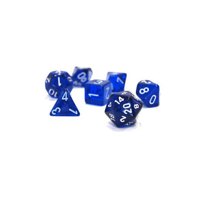 Dice - Chessex Translucent Polyhedral Blue/White (7 Dice in Display)