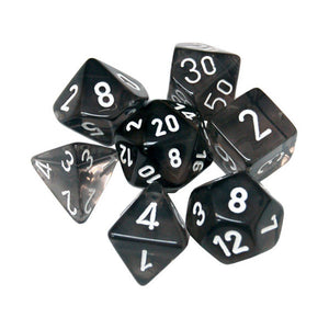 Dice - Chessex  Translucent Polyhedral Smoke/White (7 Dice in Display)