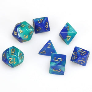 Dice- Chessex Gemini Polyhedral Blue-Teal/Gold (7 Dice in Display)