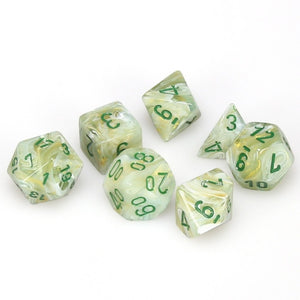Dice - Chessex Marble Green/Dark Green (Set of 7)