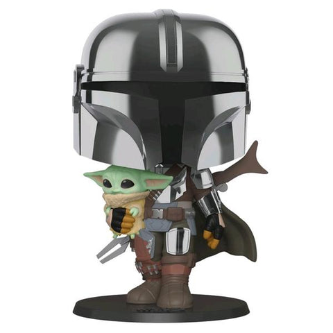 "Star Wars: The Mandalorian - Mandalorian with Child Chrome 10"" Pop! Vinyl"