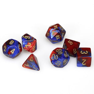Dice - Chessex Gemini Blue-Red W/Gold 7 Die Set