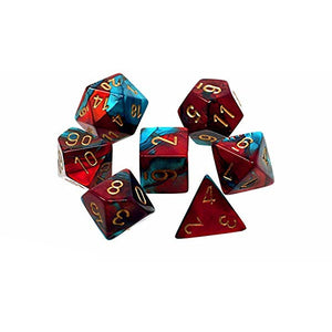 Dice - Chessex Gemini Red Teal with Gold 7 Die Set