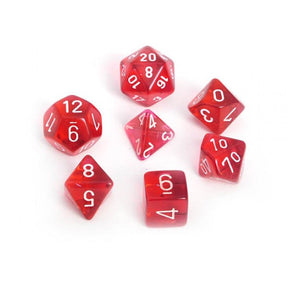 Dice - Chessex Translucent Polyhedral Red/White 7-Die Set