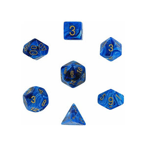 Dice - Chessex Vortex Polyhedral Blue/Gold (7 Dice in Display)