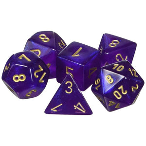 Dice - Chessex Borealis Polyhedral Royal Purple/Gold (7 Dice in Display)