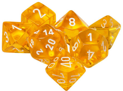 Dice - Chessex Translucent Polyhedral Yellow/White (7 Dice in Display)