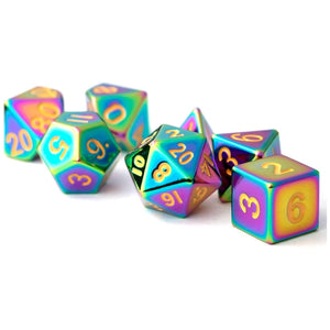MDG Metal Polyhedral Dice Set - Torched Rainbow
