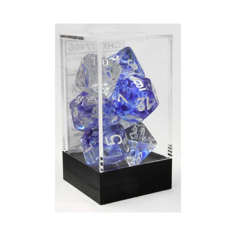 D7-Die Set Dice Nebula Polyhedral Dark Blue/White (7 Dice in Display)