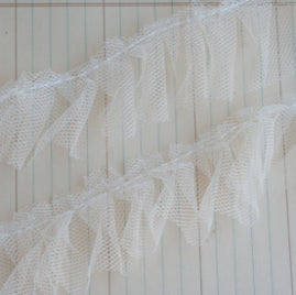 Tulle Pleat Trim - Cream - sugar and spice crafts