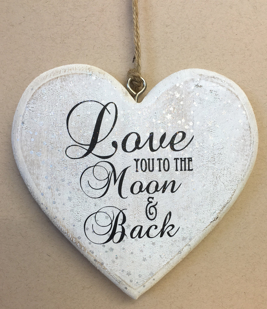 Wooden chunky hanging heart - love you to the moon and back - sugar and spice crafts - 1