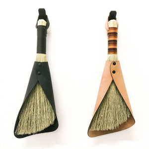 leafted- broom broom - handcrafted broom and leather pan , handmade in WA - USA - elevate your camp , van camping, vanlife , van accessories