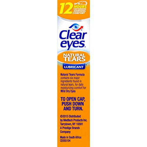 Clear Eyes | Natural Tears Lubricant Eye Drops | 0.5 FL OZ | Pack of 3