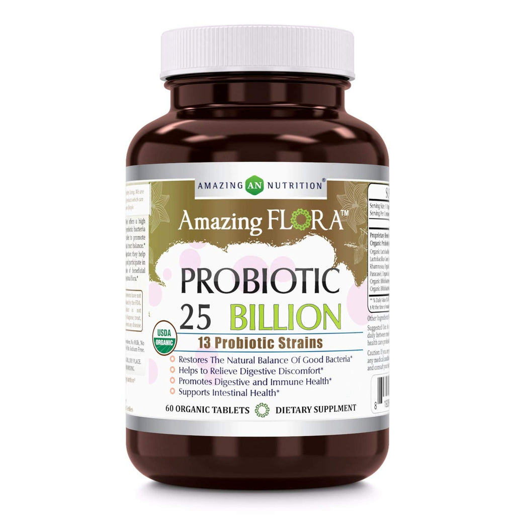Amazing Flora - USDA Certified Organic Probiotic 25 Billion - 13 Probiotic Strains - 60 Organic Tablets - Restores The Natural Balance of Good Bacteria - Helps to Relieve Digestive Discomfort