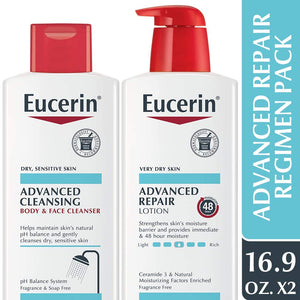 Eucerin Advanced Repair Regimen Pack - Advanced Repair Body Lotion & Advanced Cleansing Face & Body Wash