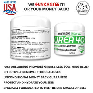Urea 40% Percent Cream/Gel for Hands, Feet, Elbows and Knees - Corn & Callus Remover - Skin Exfoliator & Moisturizer - Repairs Thick, Callused, Dead and Dry Skin - 4 oz