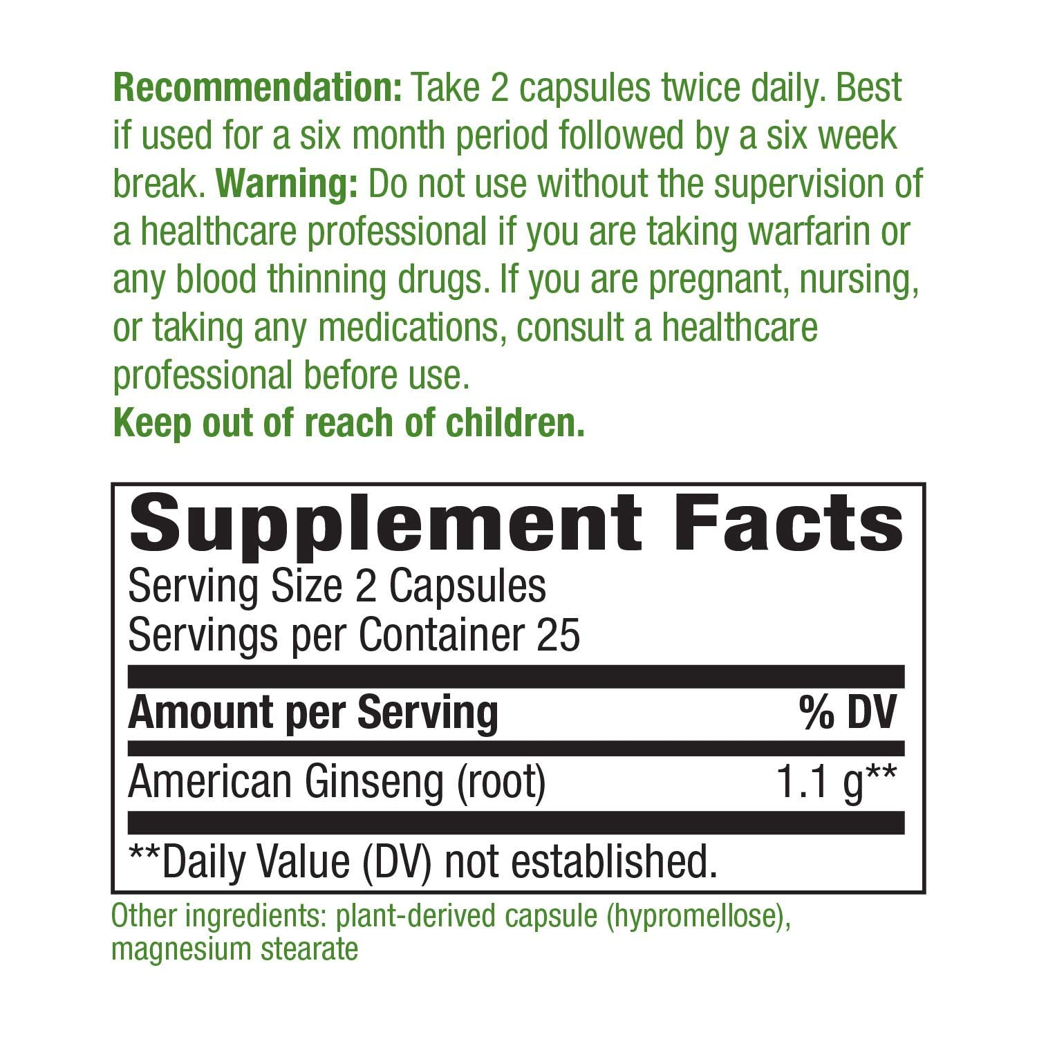 Nature's Way Premium Herbal American Ginseng 550 mg, 50 Vcaps
