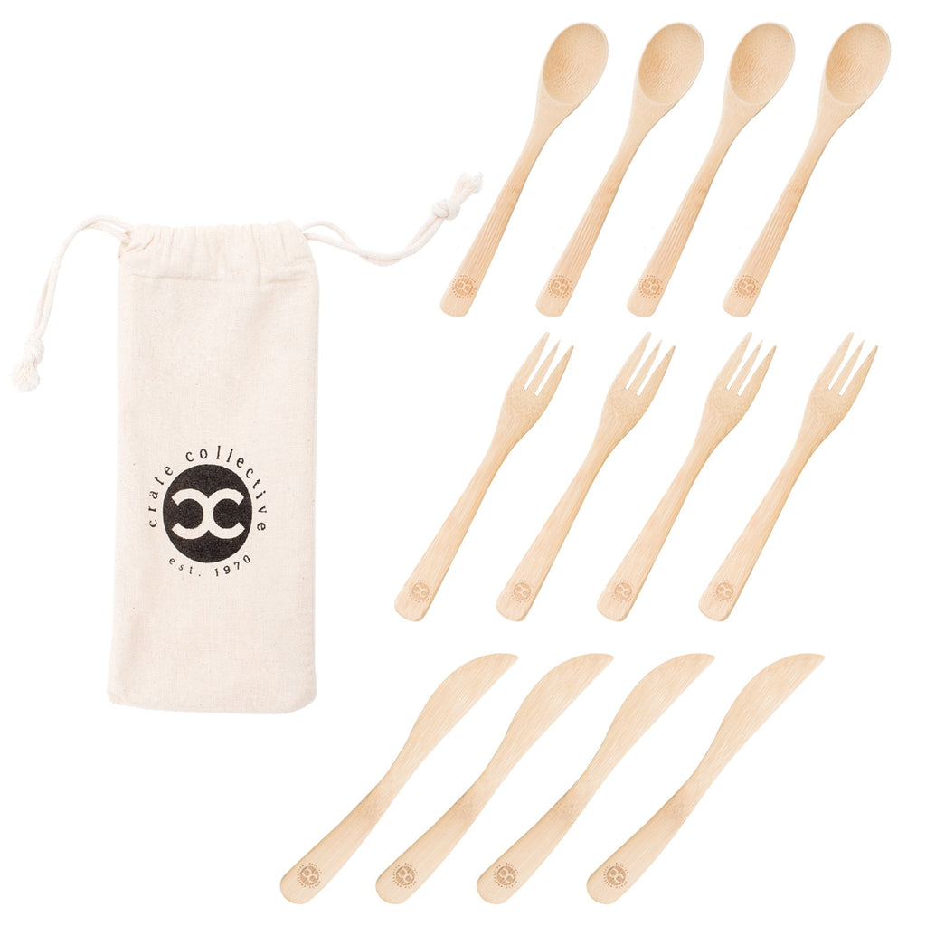Crate Collective Bamboo Utensils Set of 4 - Reusable Cutlery - Organic, Eco-friendly