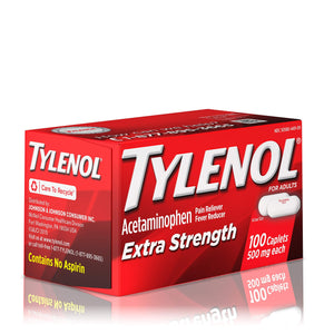 Tylenol Extra Strength Caplets with 500 mg Acetaminophen, Pain Reliever & Fever Reducer, 100 ct