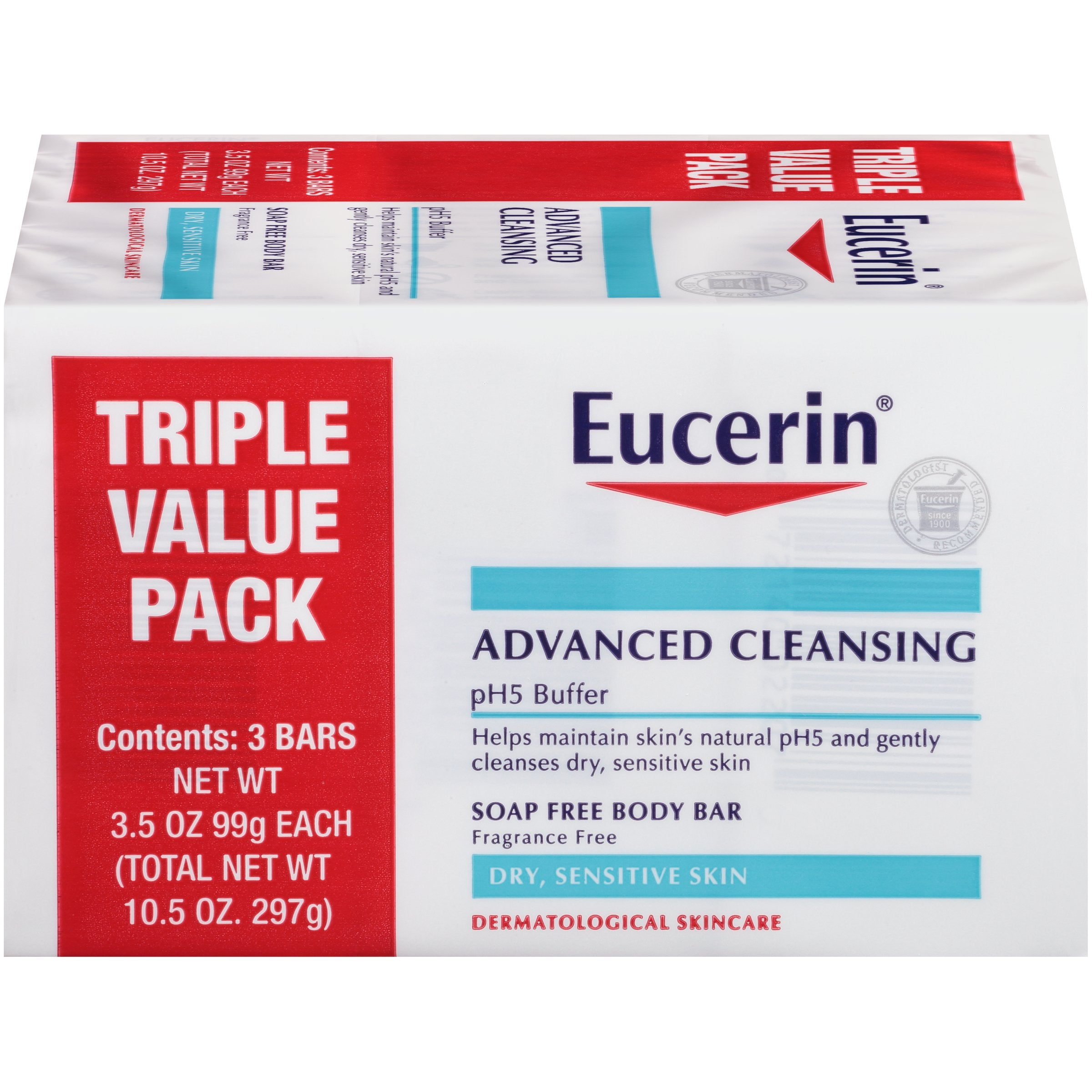 Eucerin Advanced Cleansing Body Bar Soap for Sensitive Skin