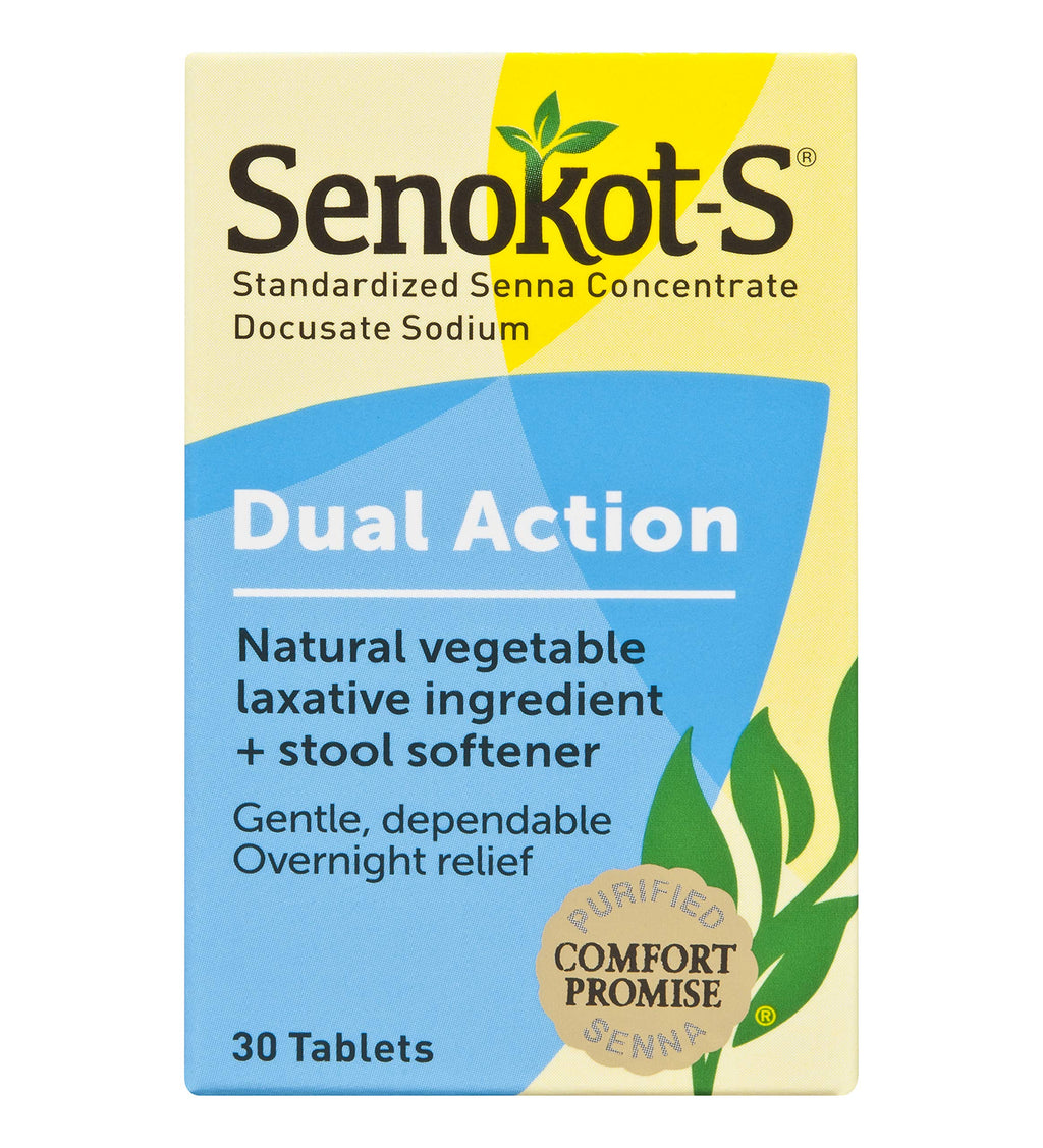 Senokot-S  Dual Action, Natural Vegetable Laxative Ingredient Plus Stool Softener Tablets