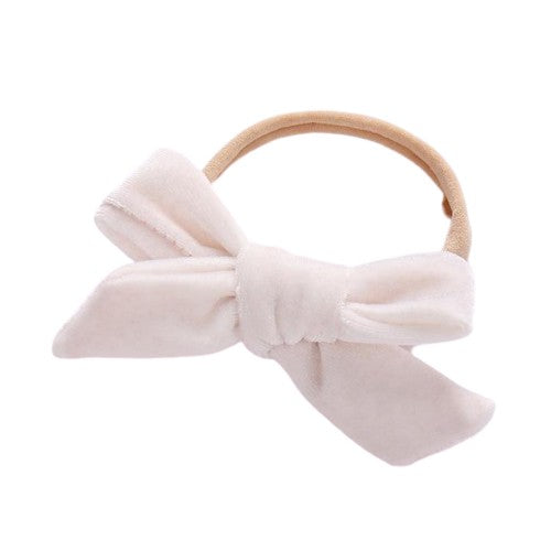 Velvet bow headband in white