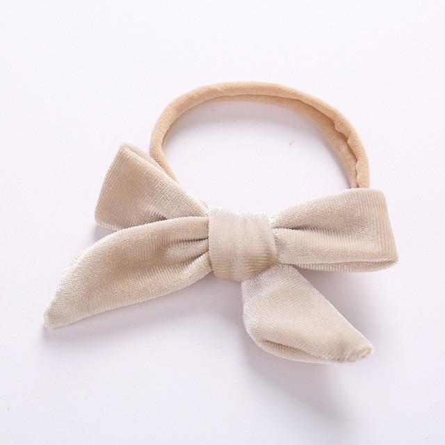 Velvet bow headband in light khaki