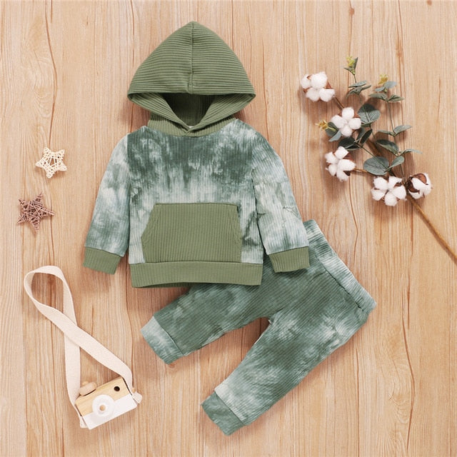 Ribbed splash hoodie set + jogger in army green
