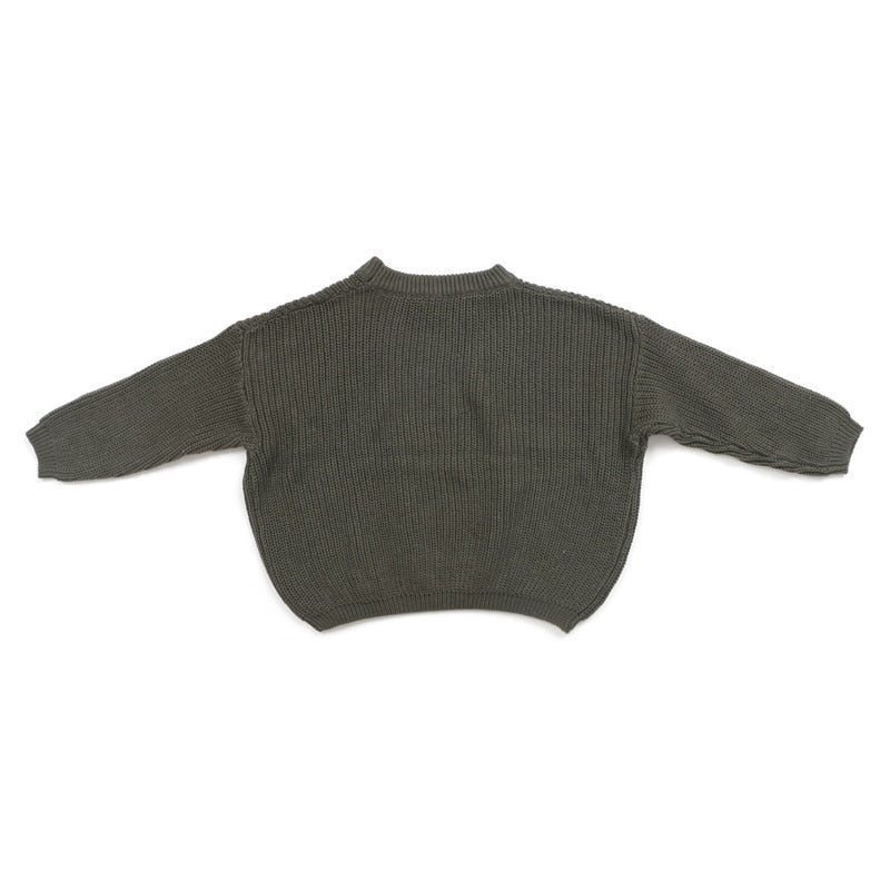 Chunky knit sweater in army green