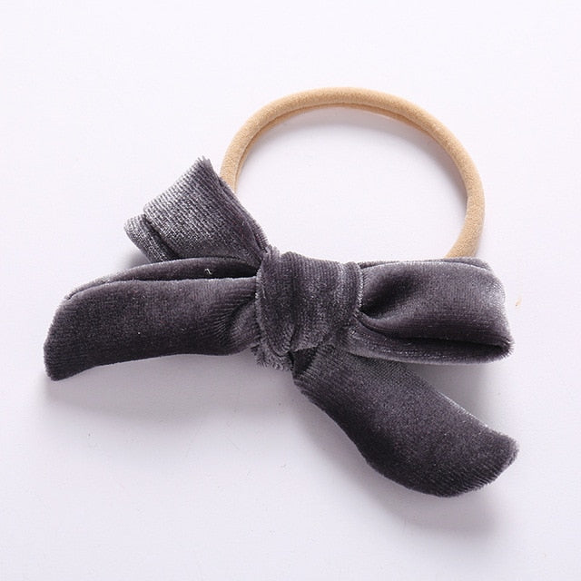 Velvet bow headband in grey
