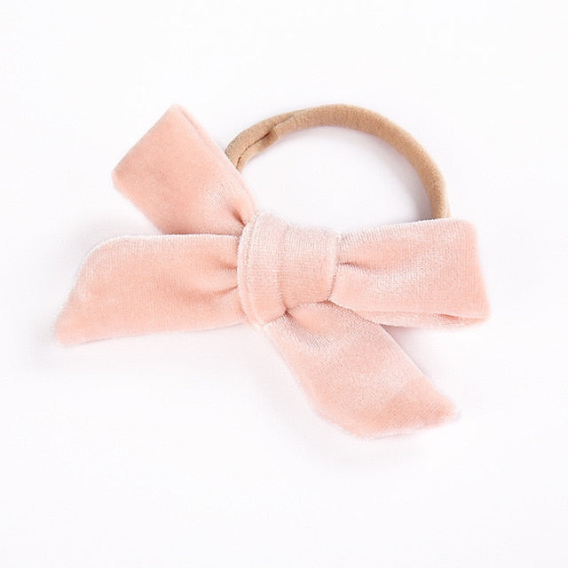 Velvet bow headband in champagne