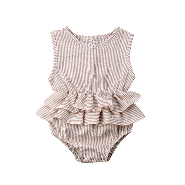 Sasha romper in tan with white stripes