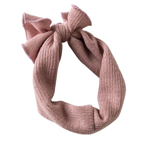 Ribbed bow headband- dusty rose