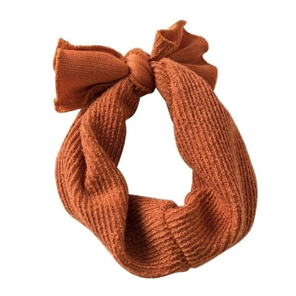 Ribbed bow headband- burnt orange