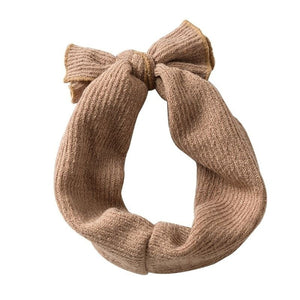 Ribbed bow headband- taupe