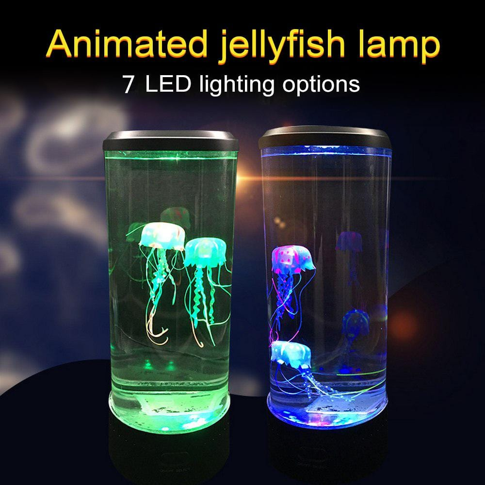7 Color Changing LED Jellyfish Lamp Aquarium Bedside Night Light Decorative Romantic Atmosphere USB Charging Creative Gift