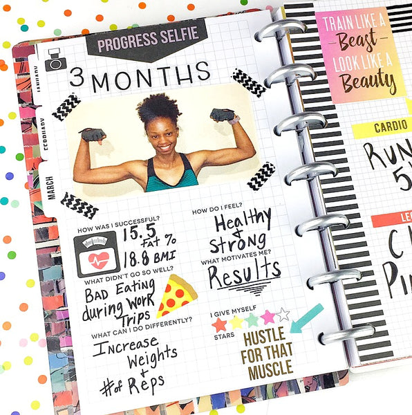 Fitness Happy Planner with Planner Stickers and Photos