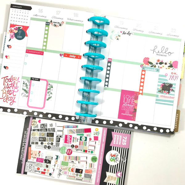 Happy Planner Layout with Planner Stickers