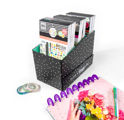 Sticker Storage Box - Black and White Polka Dot
